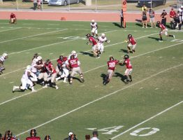 The JCJC offense charging downfield against PRCC.