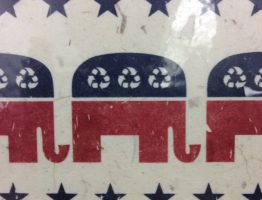 The Republican party elephant logo.