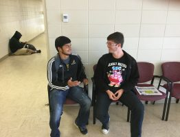 JCJC students Manuel Alvarado and Nathan Lucky  discussing what they are truly thankful for this time of year.