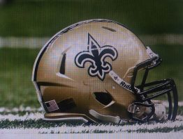 A New Orleans Saints helmet.