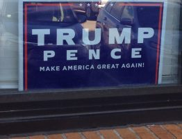 A 2016 Trump Pence campaign sign.