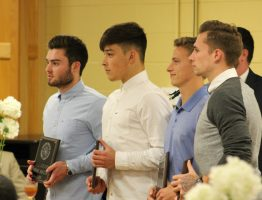 JCJC Men's soccer players from left to right Kieran Robins, Darren Ross, Noah Billingsley, and Joseph Todd attending the Athletic Banquet.